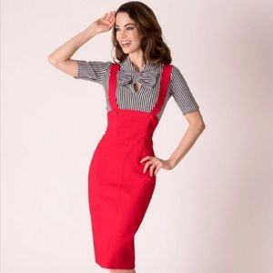 Tatyana Vintage Style Pencil Skirt W/Overalls Red